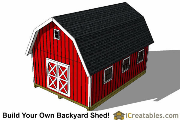 14x24 Gambrel Shed Plans 14x20 Barn Shed Plans