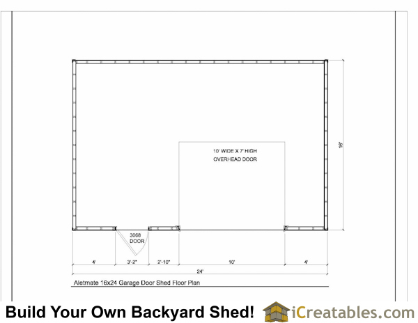 16x24 shed plan with garage door floor plan