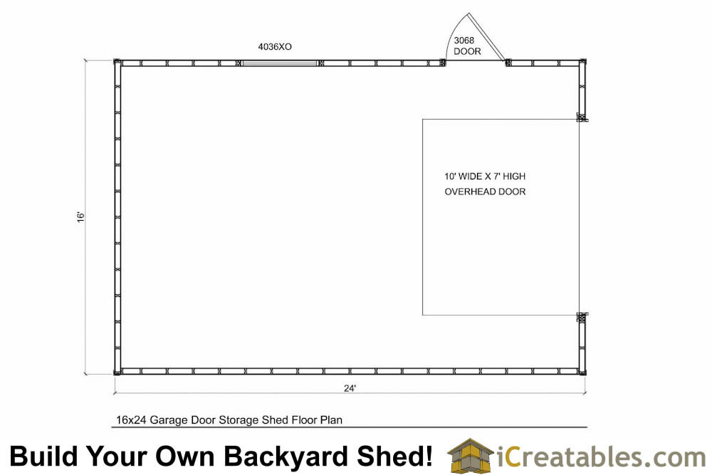 16x24 shed with garage door floor plan