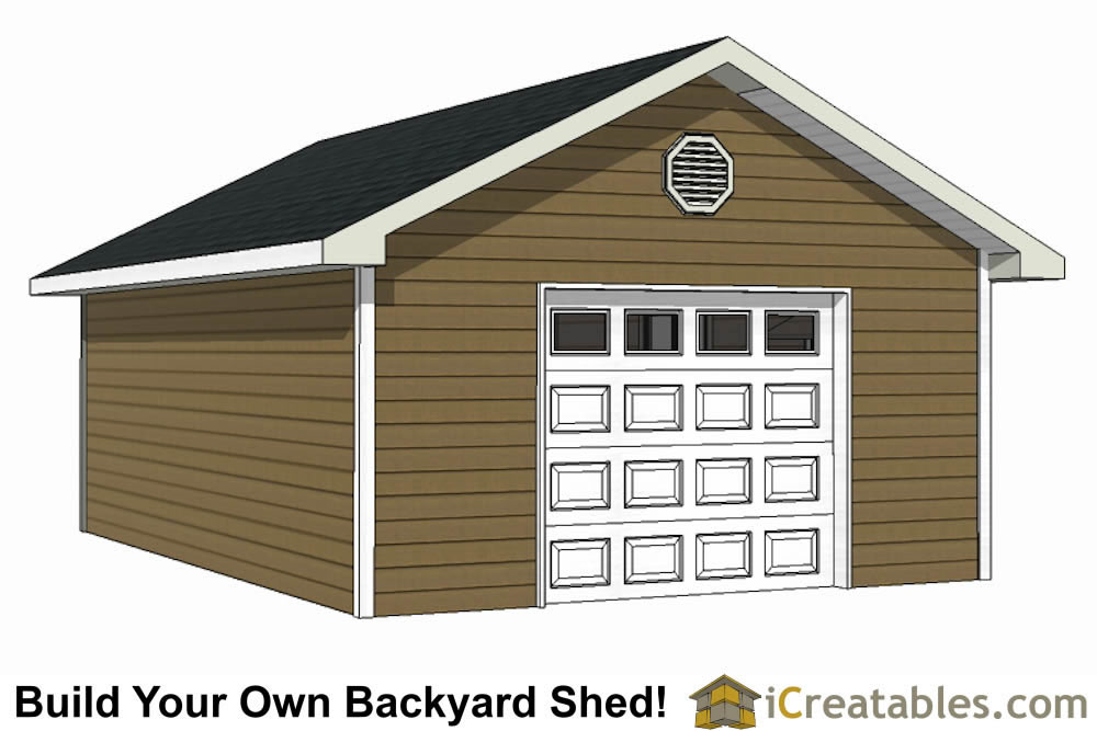 16x24 shed with garage door front left elevation