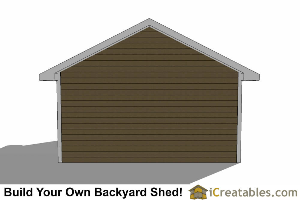 16x24 shed with garage door left rear elevation