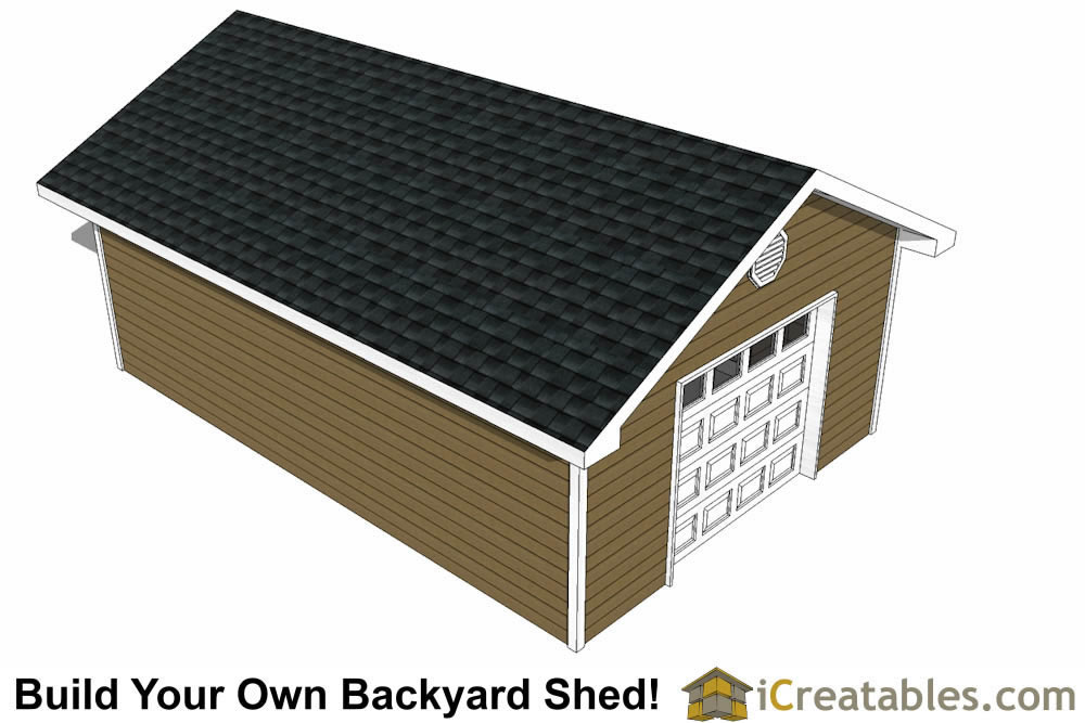 16x24 Gable Garage : Garage shed plans build your own large with a