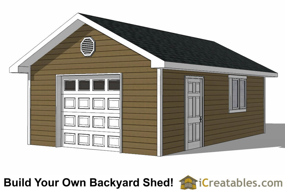 16x24 shed with garage front elevation