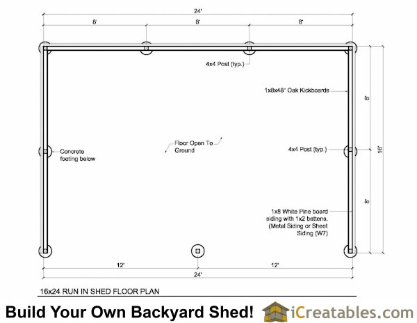 16x24 run in shed floor plans