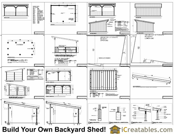 16x24 run in shed plans for Lean to house plans