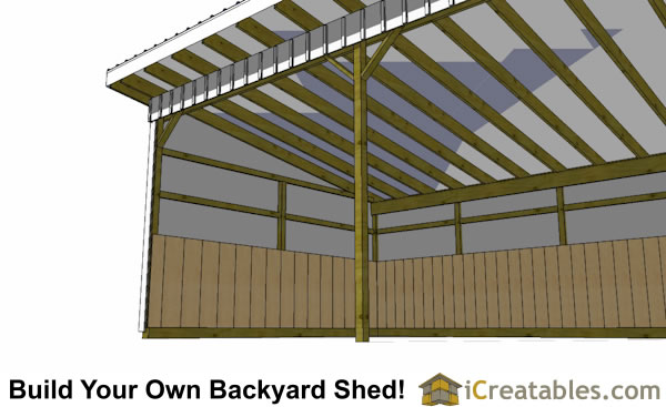 16x24 run in shed plans inside view