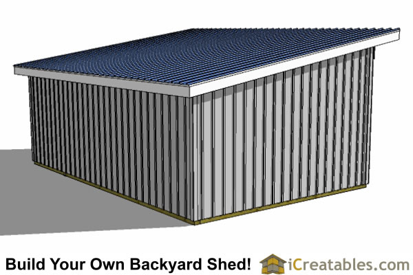 16x24 run in shed plans rear