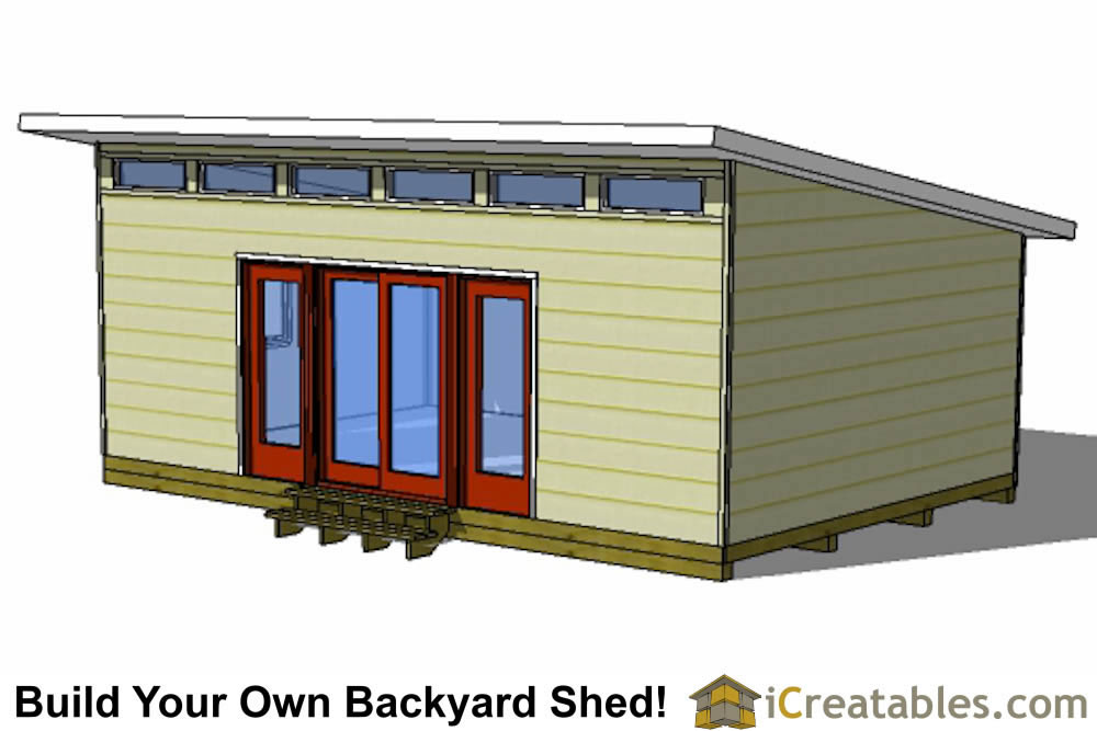 16x16 modern shed plans rear