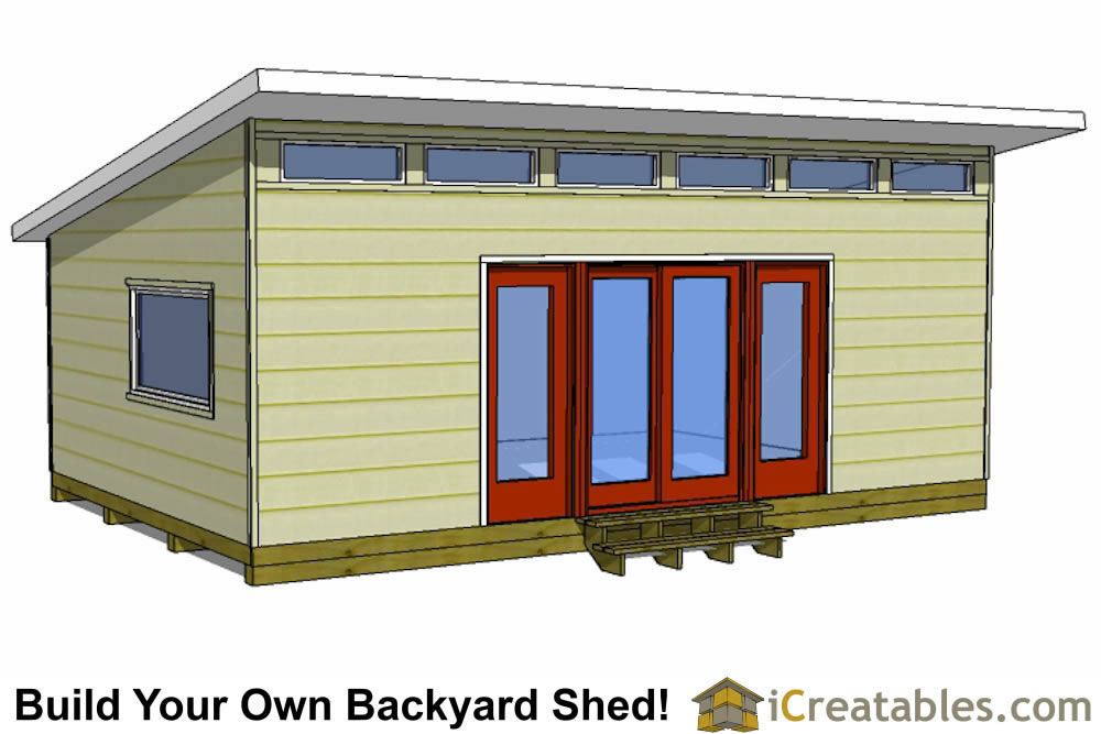 16x24 modern shed plans front view