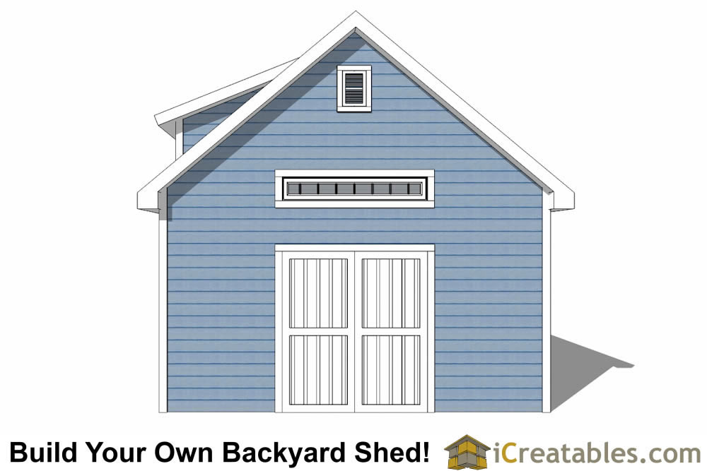 16x24 shed with dormer roof plans elevation
