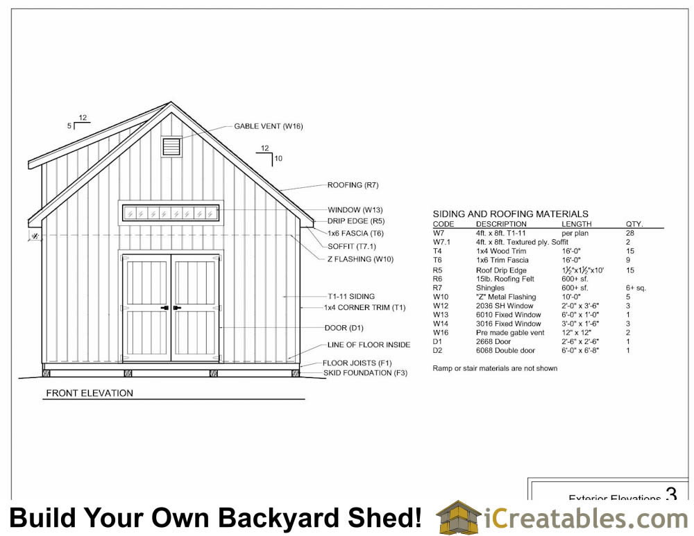 16x24 shed with dormer exterior elevations plans