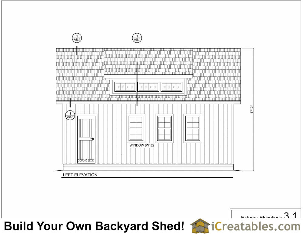 16x24 shed with dormer elevations