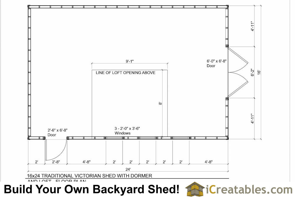 16x24 shed with dormer roof floor plans