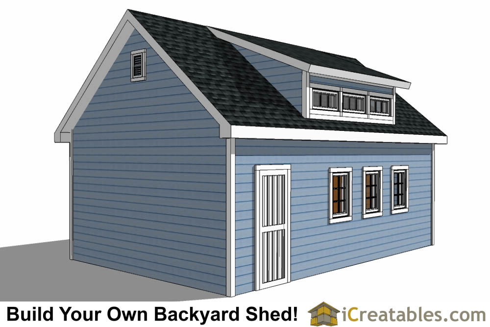16x24 shed with dormer roof plans right