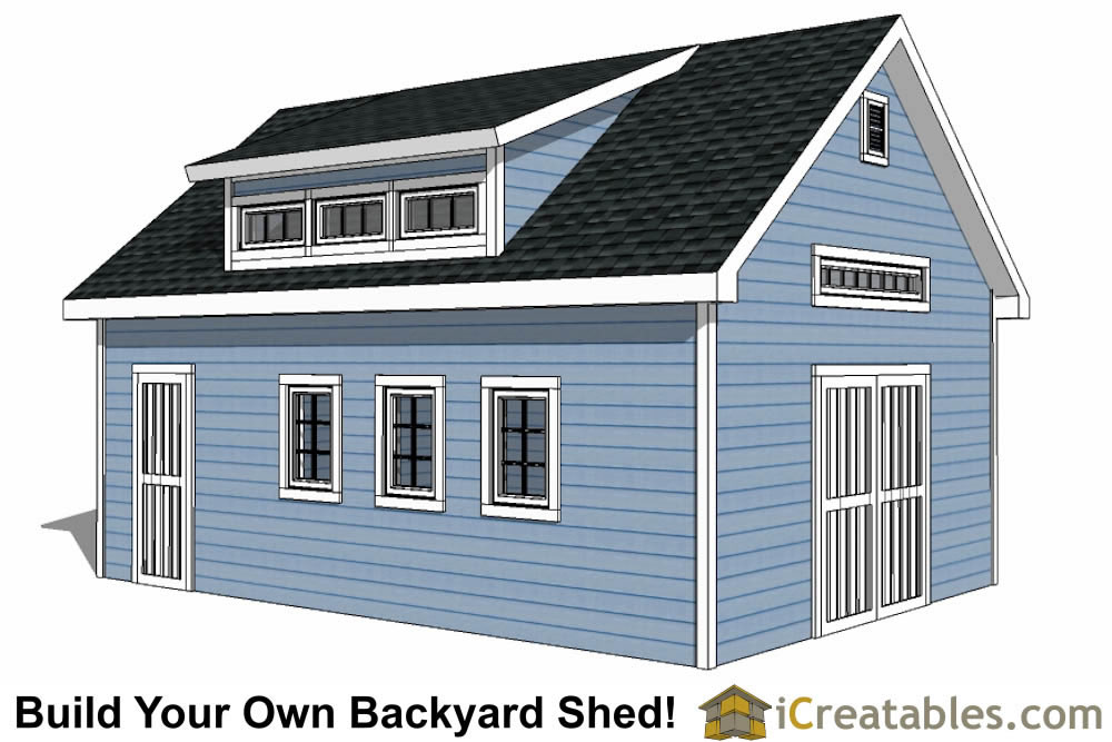 16x24 shed with dormer roof plans
