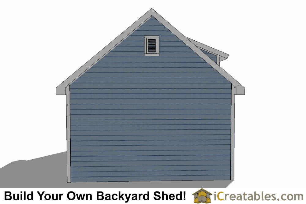 16x24 shed with dormer roof plans rear elevation