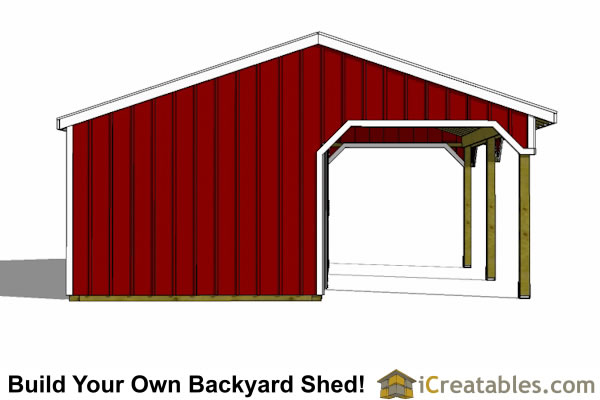 two Stall horse barn lean to end view