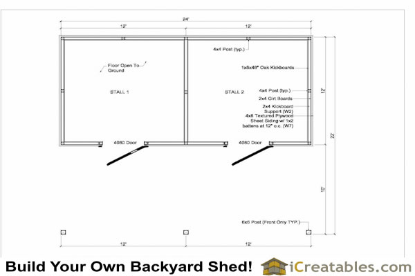 22x24 horse barn with lean to icreatables sheds for Horse barn floor plans