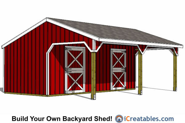 12x24 Horse Barn With Lean To Front