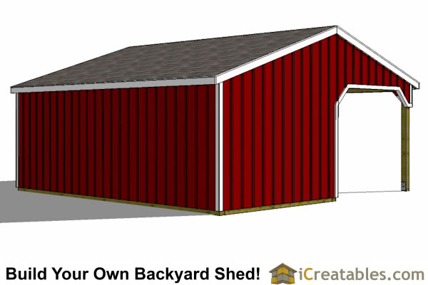 2 Stall Horse barn lean to rear view