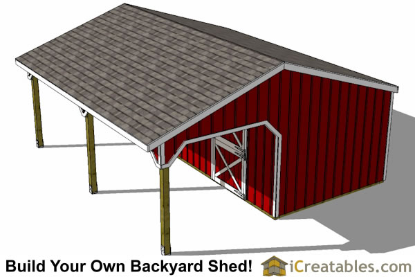22x24 Horse barn lean to top