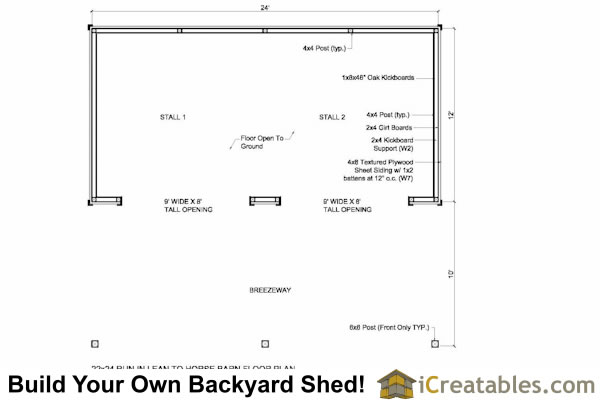 12x24 run in shed with lean to breezeway floor plan