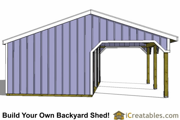 24x22 run in shed end view