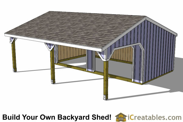 12x24 2 stall run in shed plans top view