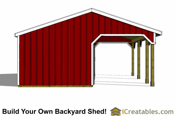 2 stall horse barn with tack room and lean to breezeway end view