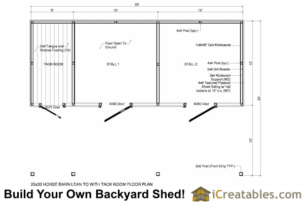 Two stall horse barn plans for Horse stall door plans
