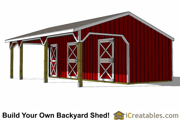 2 stall horse barn with tack room and lean to breezeway right side