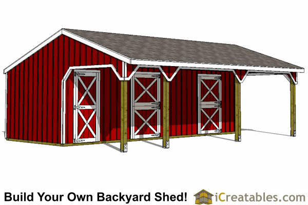 2 stall horse barn and lean to