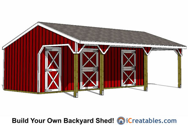 Run in shed plans building your own horse barn icreatables for 2 stall horse barn