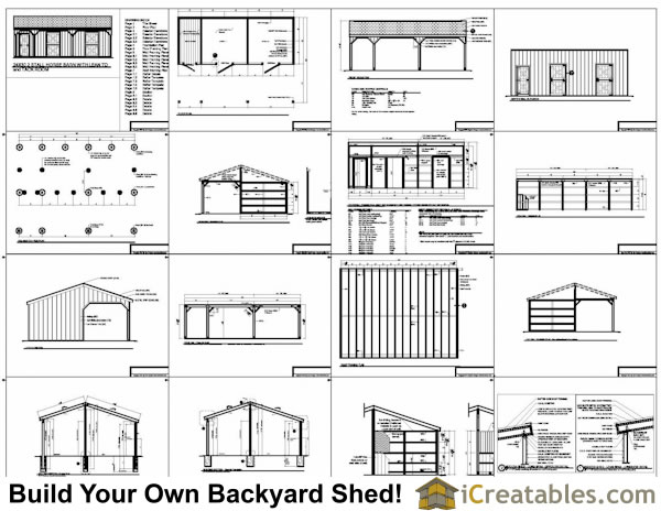 2 stall horse barn plans with lean to and tack room for Six stall horse barn plans