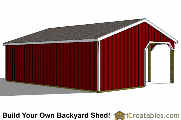 2 stall horse barn with tack room and lean to breezeway