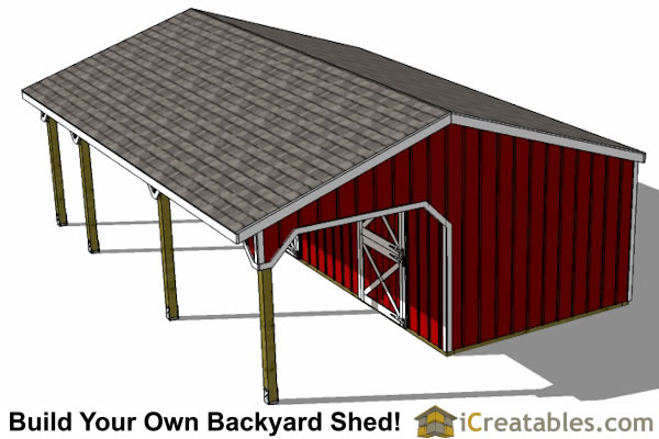 2 stall horse barn with tack room and lean to breezeway top view