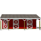 3 stall horse barn plans elevation