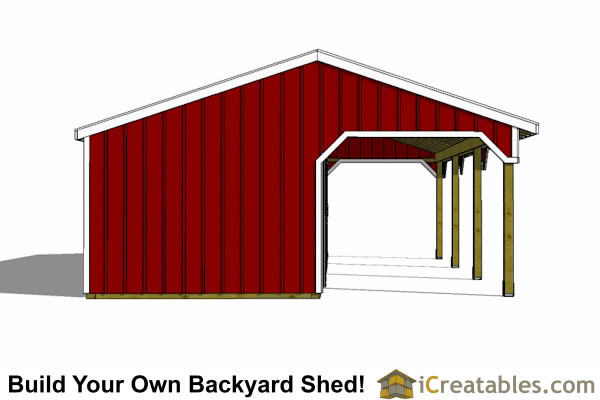 3 stall horse barn with lean to breezeway left side