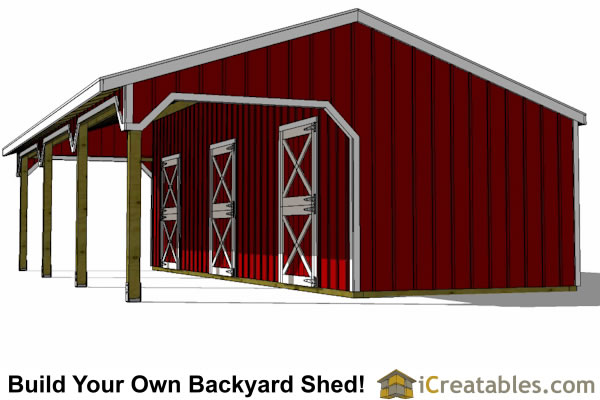 3 Stall Horse Barn Plans With Lean To Icreatables Sheds