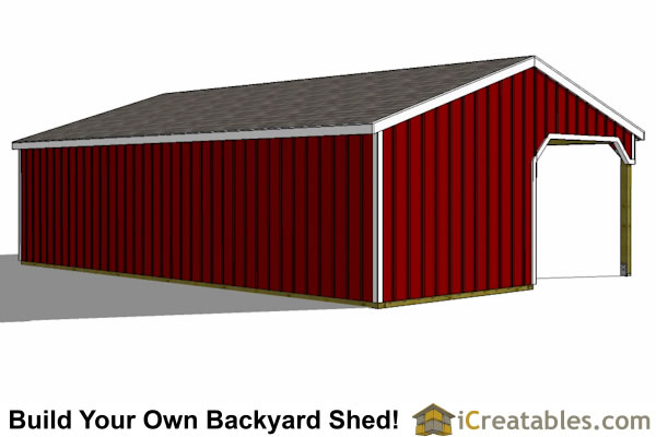 3 stall horse barn with lean to breezeway rear view