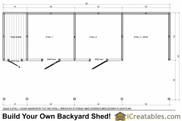 3 stall horse barn and tack room floor plan