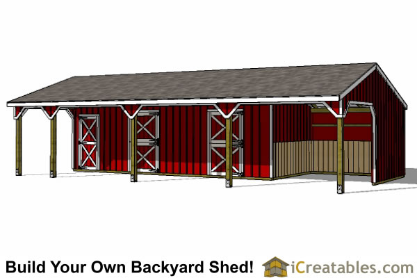 stall horse barn and lean to
