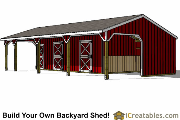 22x42 3 Stall Horse Barn With Tack Room And Lean To Breezeway Floor Plan