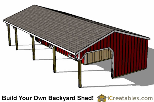 three stall horse barn top