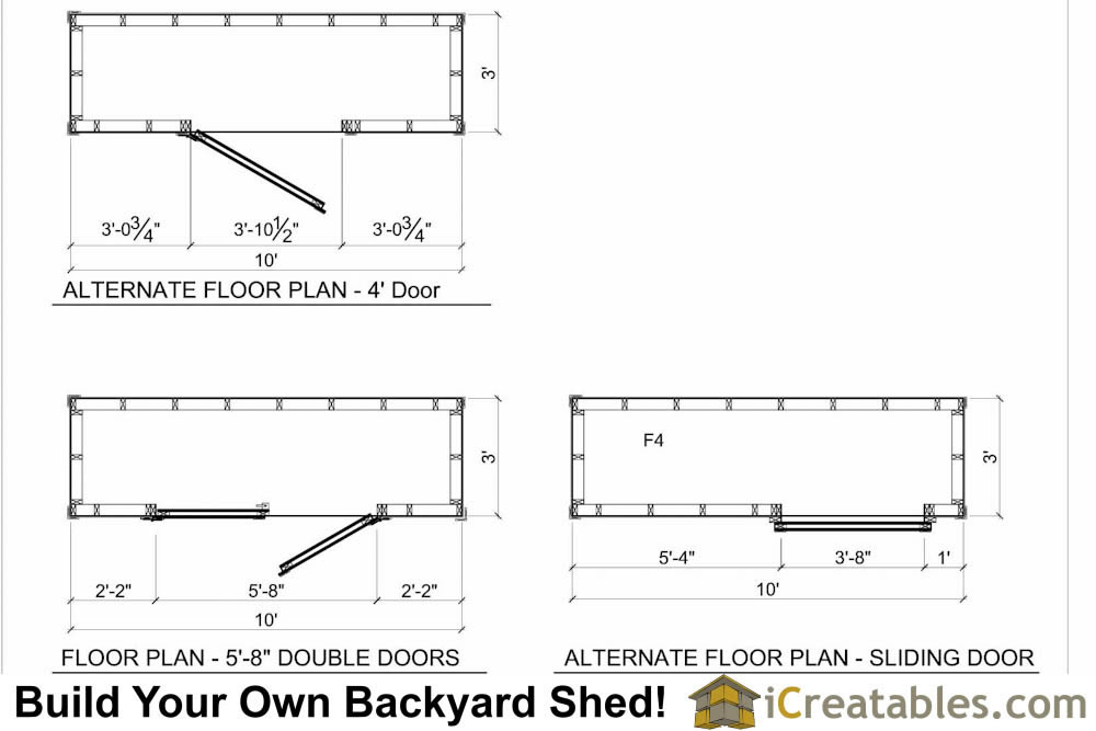 3x10 lean to shed plans floor plan