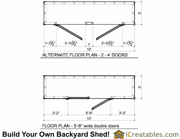 3x12 lean to shed plans floor plan