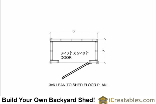 plans for a 3'x 6' lean to storage shed for your yard or garden