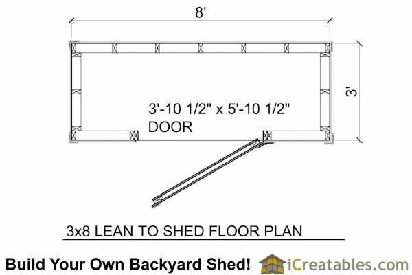 3x8 shed floor plan