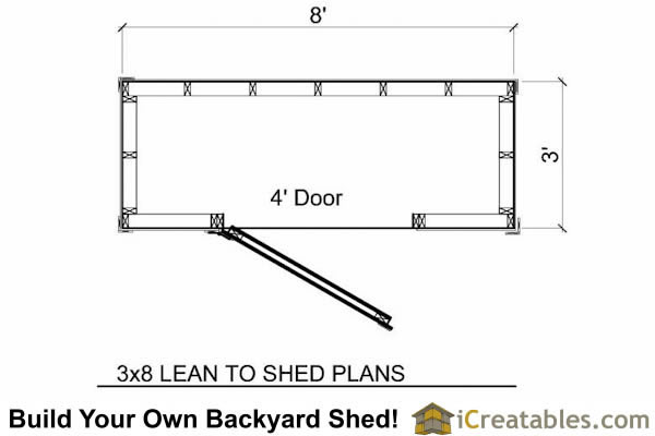 4x8 lean to short shed floor plans