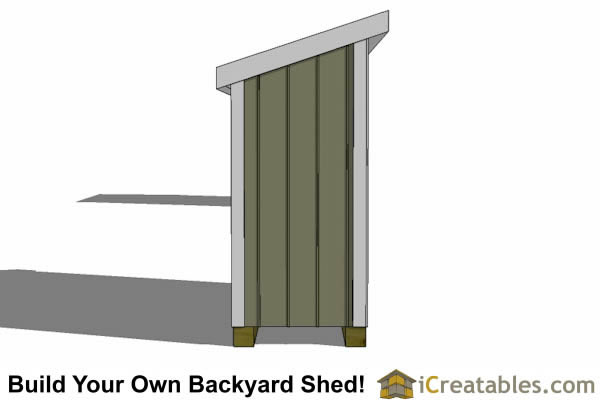 4x8 lean to short shed end elevation